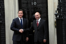 David Cameron with the Romanian President Traian Băsescu